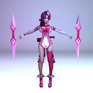 C4D王者榮耀2013游戲女角色模型