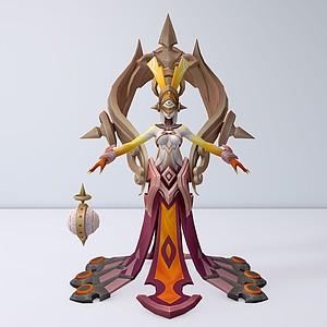 C4D王者榮耀游戲女角色模型