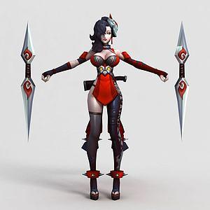 王者荣耀2013女游戏人物模型3d模型
