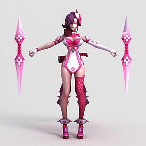 王者荣耀2013游戏女角色模型3d模型