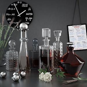 红酒醒酒器摆件组合3d模型