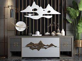 新中式电视柜背景墙模型