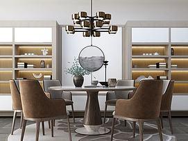 新中式圆餐厅餐桌模型