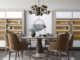新中式圆餐厅餐桌3d模型