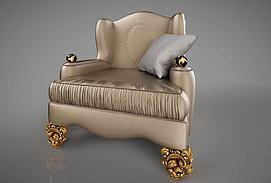 欧式单人沙发模型