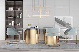 现代轻奢设计金属餐桌椅模型