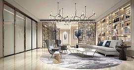 会客厅书房模型