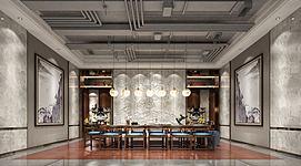 中式元素会客厅模型