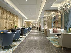 星级酒店西餐厅模型