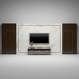 中式电视背景墙模型