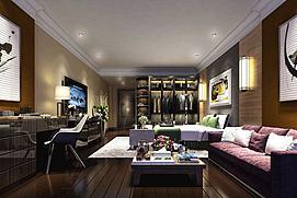 客厅别墅公寓卧室模型