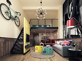 工业风客厅别墅室内装饰模型