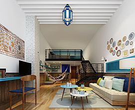 别墅公寓客厅跃层模型