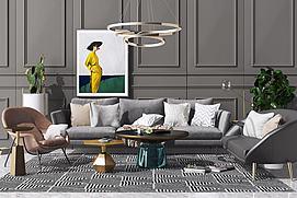 现代北欧沙发茶几吊灯组模型