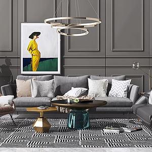 3d现代北欧沙发茶几吊灯组模型