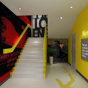 健身房樓梯間模型3d模型