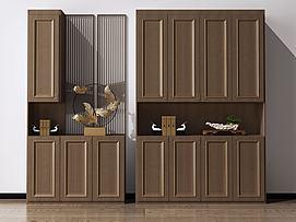 新中式鞋柜玄关柜装饰柜模型