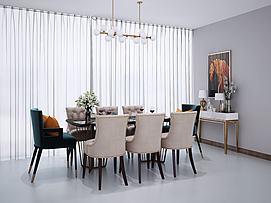 现代北欧餐桌椅组合模型