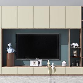 北欧简约电视背景墙电视柜模型