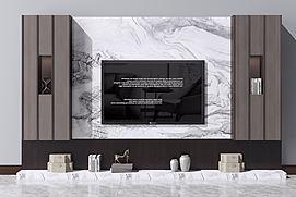 新中式电视柜电视背景墙模型