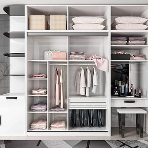 白色現代衣柜3d模型