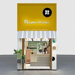 奶茶店门头模型3d模型
