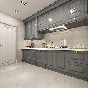 简欧整体厨房3d模型