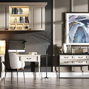 美式简美书桌椅组合模型模型3d模型