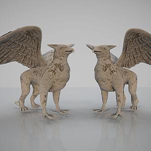 3d新中式动物摆件模型