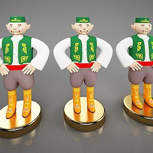新中式摆件卡通人物模型3d模型
