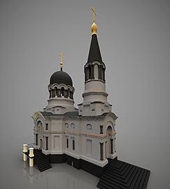 欧式外观建筑教堂模型