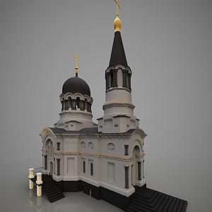 3d欧式外观建筑教堂模型