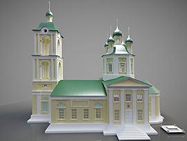 欧式建筑外观学校模型