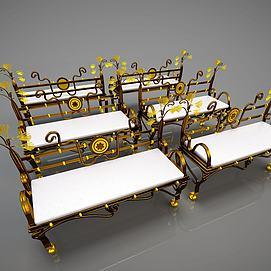 铁艺复古椅子模型