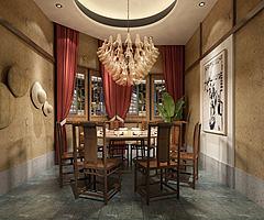 简朴风格餐厅包间模型3d模型
