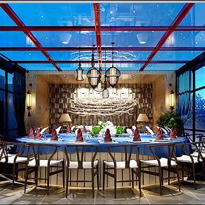 3d海洋主体餐厅包间模型