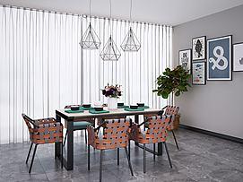 北欧工业风餐桌椅吊灯组合模型