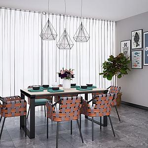 3d北欧工业风餐桌椅吊灯组合模型
