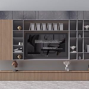 新中式电视背景墙电视柜模型