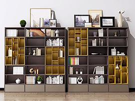 现代北欧书柜书架装饰柜模型