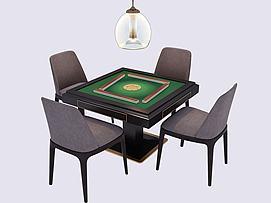 新中式麻将桌棋牌桌模型