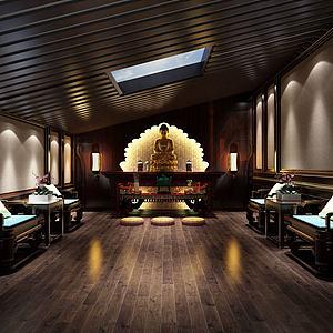 佛像展厅会馆模型