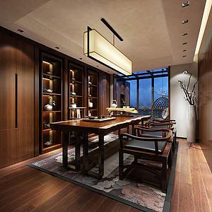 3d茶室茶柜桌椅吊灯模型