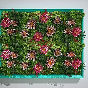 花卉草木绿植景观墙模型