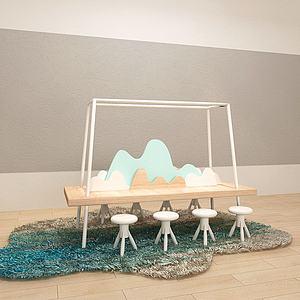 儿童创意地垫桌凳组合3d模型