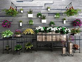 现代盆栽绿植铁艺花架模型