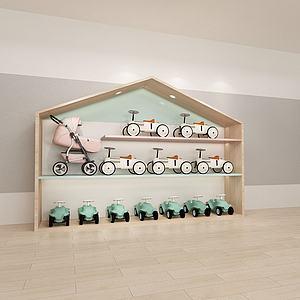 婴幼儿电车推车展架货架3d模型