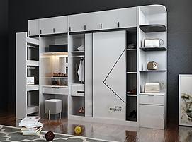 现代实用型衣柜组合模型