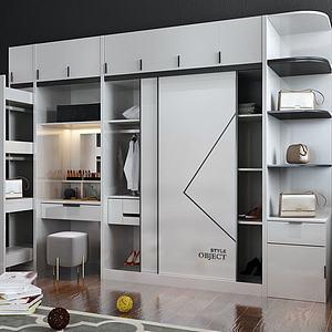 现代实用型衣柜组合3d模型