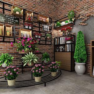 植物盆栽铁艺花架墙饰壁饰模型
